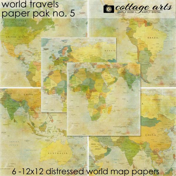 World Travels 5 Paper Pak Digital Art - Digital Scrapbooking Kits