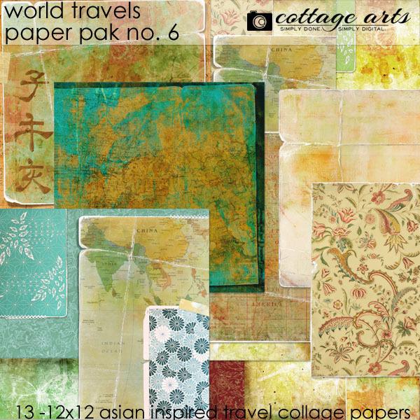 World Travels 6 Paper Pak Digital Art - Digital Scrapbooking Kits
