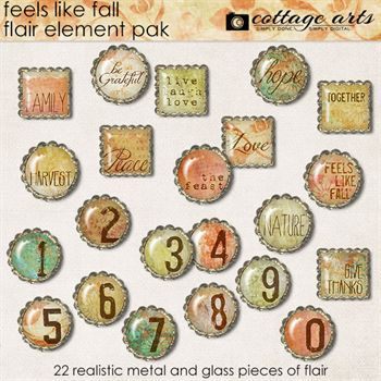 Feels Like Fall Flair Element Pak Digital Art - Digital Scrapbooking Kits