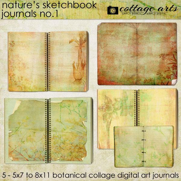 Nature's Sketchbook - Journals 1 Digital Art - Digital Scrapbooking Kits