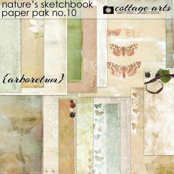 Nature's Sketchbook 10 Paper Pak Digital Art - Digital Scrapbooking Kits
