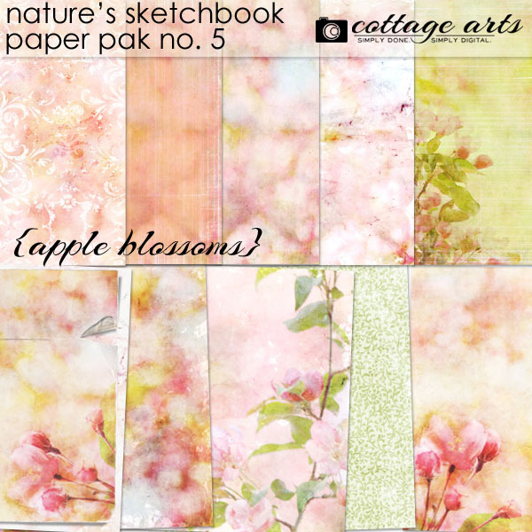 Nature's Sketchbook 5 Paper Pak - Apple Blossoms Digital Art - Digital Scrapbooking Kits