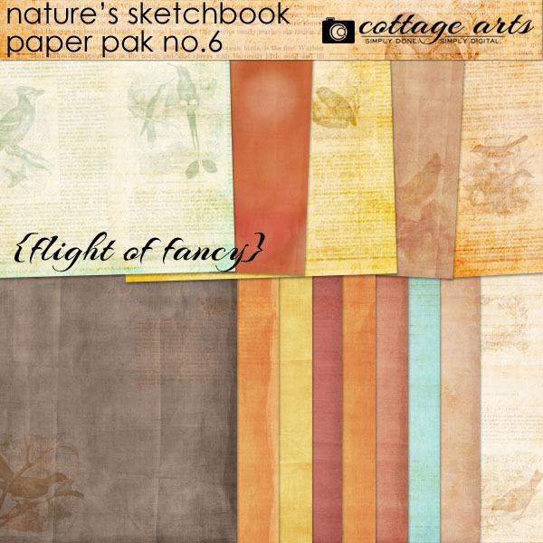 Nature's Sketchbook 6 Paper Pak - Flight Of Fancy Digital Art - Digital Scrapbooking Kits