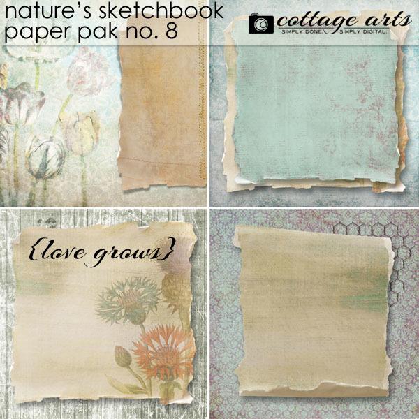 Nature's Sketchbook 8 Paper Pak Digital Art - Digital Scrapbooking Kits