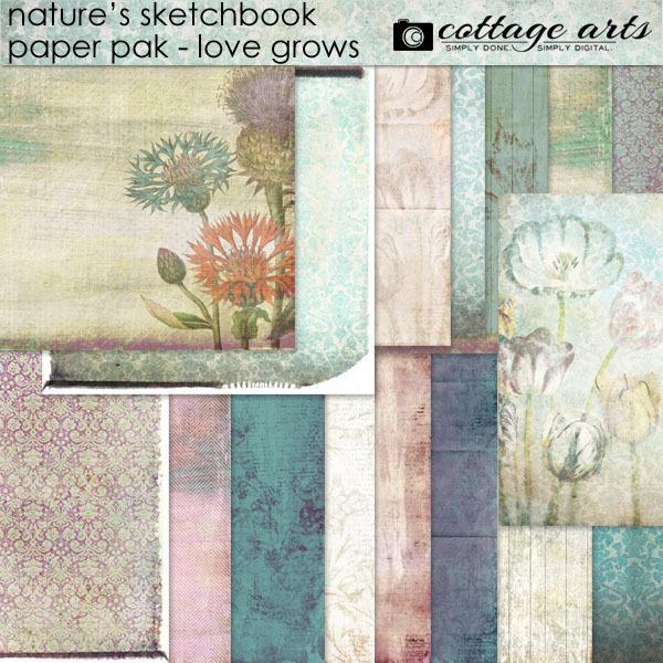 Nature's Sketchbook 9 Paper Pak Digital Art - Digital Scrapbooking Kits