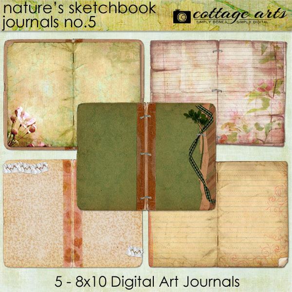 Nature's Sketchbook Journals 5 Digital Art - Digital Scrapbooking Kits