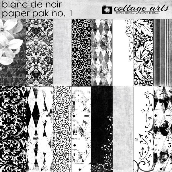 Blanc De Noir Paper Pak 1 Digital Art - Digital Scrapbooking Kits