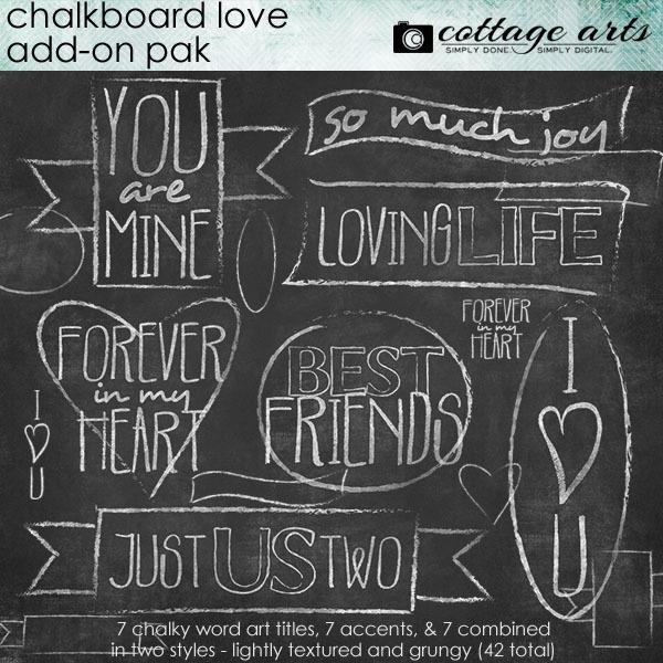 Chalkboard Love Add-on Digital Art - Digital Scrapbooking Kits