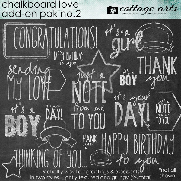 Chalkboard Love Add-on 2 Digital Art - Digital Scrapbooking Kits