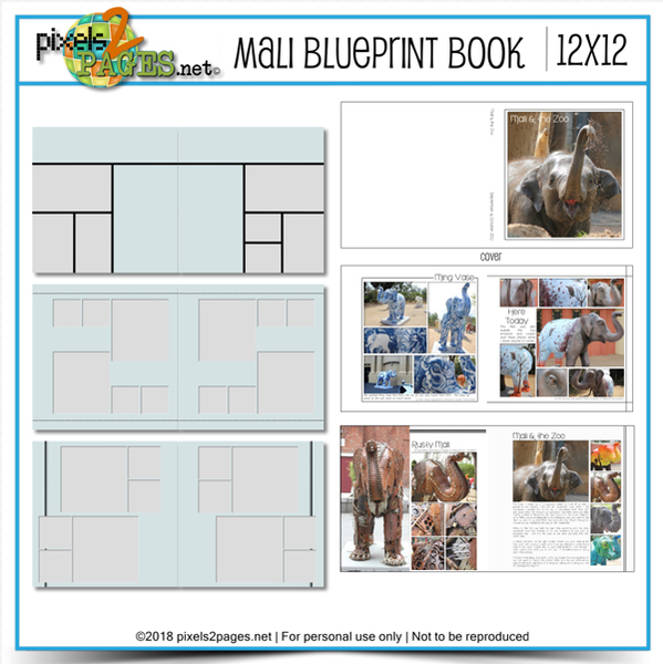 Mali Blueprint Book 12x12 Digital Art - Digital Scrapbooking Kits
