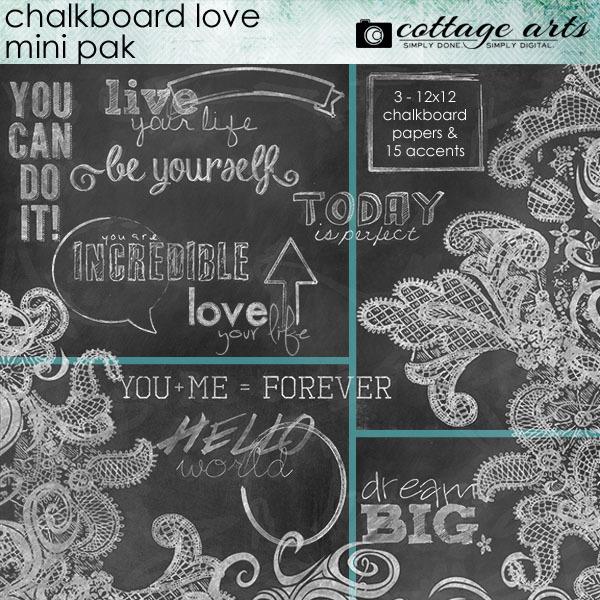 Chalkboard Love Mini Pak Digital Art - Digital Scrapbooking Kits