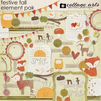 Festive Fall Elements Digital Art - Digital Scrapbooking Kits