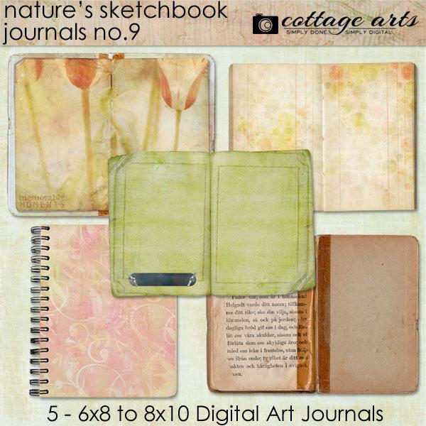 Nature's Sketchbook - Journals 9 Digital Art - Digital Scrapbooking Kits