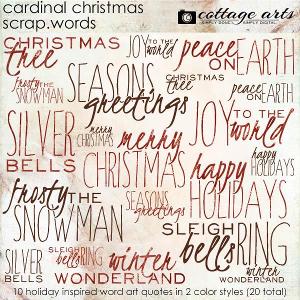 Cardinal Christmas Scrap.Words Digital Art - Digital Scrapbooking Kits