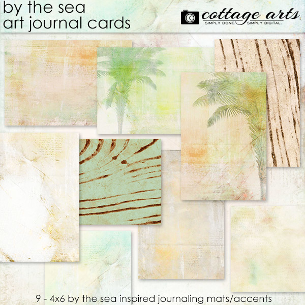 By The Sea Art Journal Cards Digital Art - Digital Scrapbooking Kits