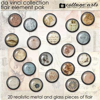 Da Vinci Collection Flair Element Pak Digital Art - Digital Scrapbooking Kits