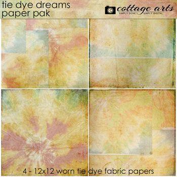Tie Dye Dreams Paper Pak Digital Art - Digital Scrapbooking Kits