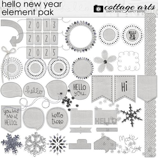 Hello New Year Element Pak Digital Art - Digital Scrapbooking Kits