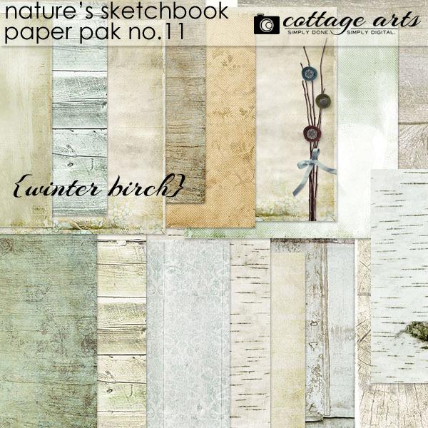 Nature's Sketchbook 11 Paper Pak Digital Art - Digital Scrapbooking Kits