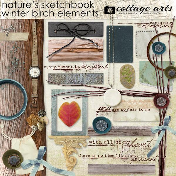 Nature's Sketchbook Winter Birch Elements Digital Art - Digital Scrapbooking Kits