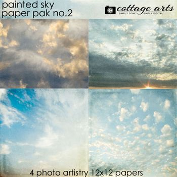 Painted Sky 2 Paper Pak Digital Art - Digital Scrapbooking Kits