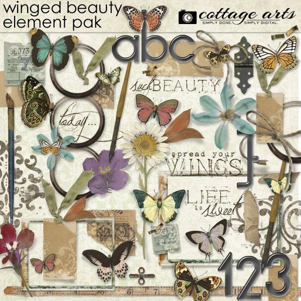 Winged Beauty Element Pak Digital Art - Digital Scrapbooking Kits