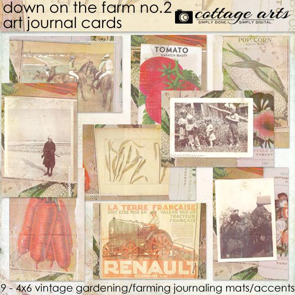 Down On The Farm 2 Art Journal Cards Digital Art - Digital Scrapbooking Kits