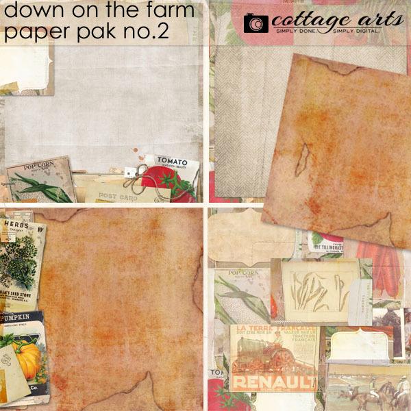 Down On The Farm 2 Paper Pak Digital Art - Digital Scrapbooking Kits