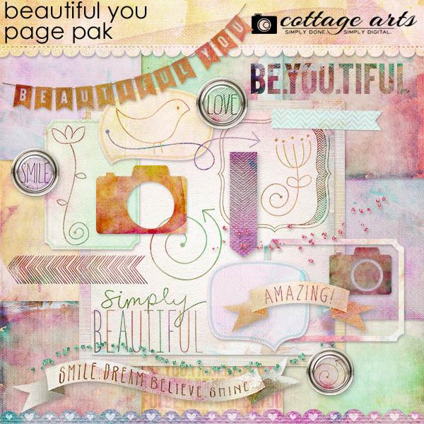 Beautiful You Page Pak Digital Art - Digital Scrapbooking Kits
