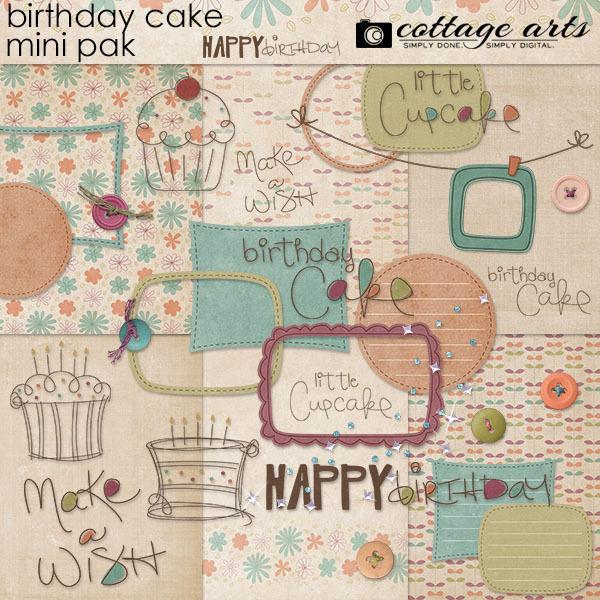Birthday Cake Mini Pak Digital Art - Digital Scrapbooking Kits