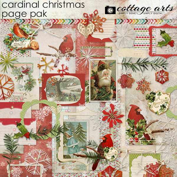 Cardinal Christmas Page Pak Digital Art - Digital Scrapbooking Kits