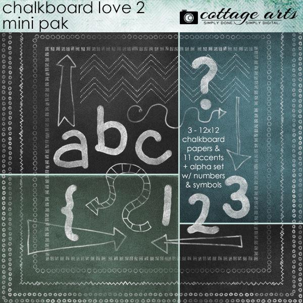 Chalkboard Love 2 Mini Pak Digital Art - Digital Scrapbooking Kits