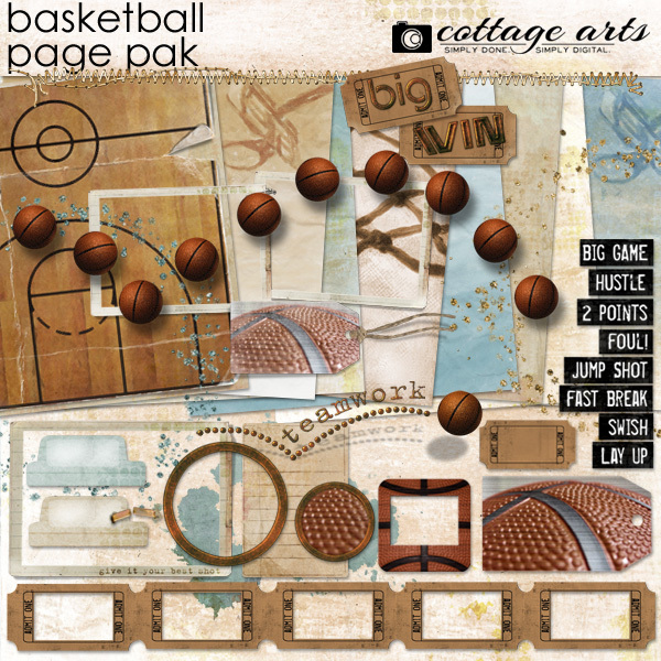Basketball Page Pak Digital Art - Digital Scrapbooking Kits