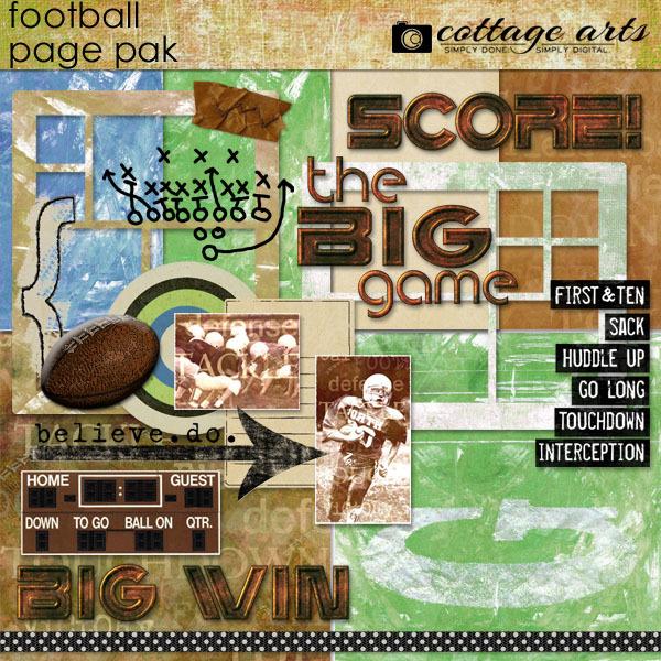 Football Page Pak Digital Art - Digital Scrapbooking Kits