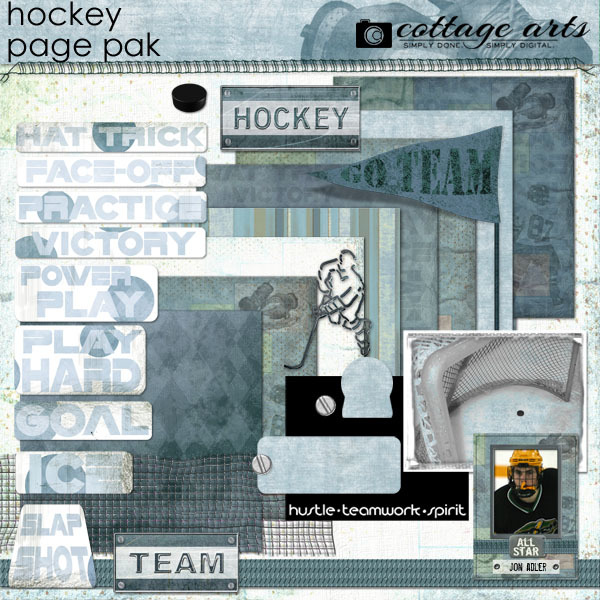 Hockey Page Pak Digital Art - Digital Scrapbooking Kits
