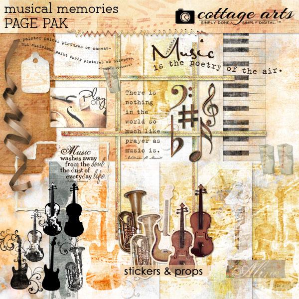 Musical Memories Page Pak Digital Art - Digital Scrapbooking Kits