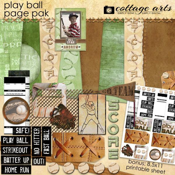 Play Ball Page Pak With Baseball Card Digital Art - Digital Scrapbooking Kits