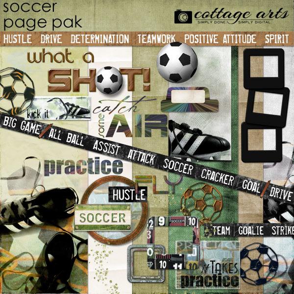Soccer Page Pak Digital Art - Digital Scrapbooking Kits
