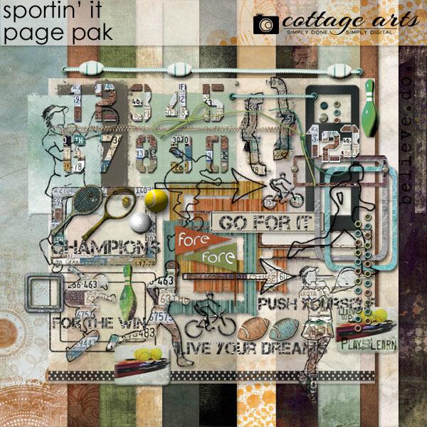 Sportin' It Page Pak Digital Art - Digital Scrapbooking Kits