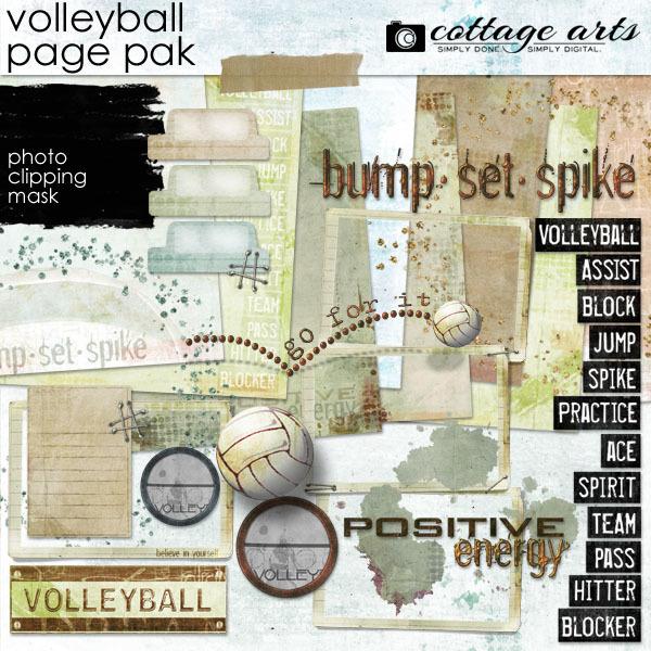 Volleyball Page Pak Digital Art - Digital Scrapbooking Kits