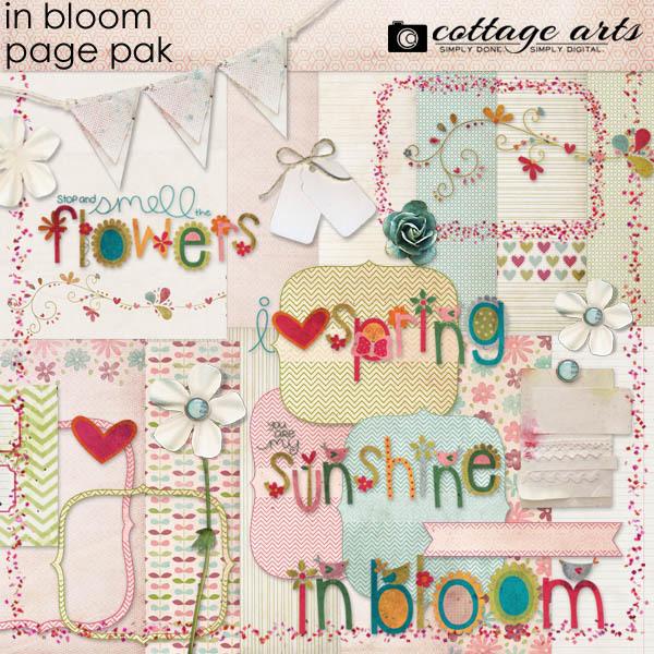 In Bloom Page Pak Digital Art - Digital Scrapbooking Kits