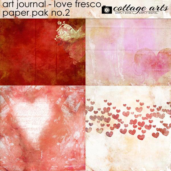 Art Journal - Love Fresco 2 Paper Pak Digital Art - Digital Scrapbooking Kits