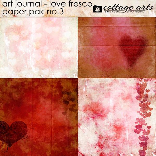 Art Journal - Love Fresco 3 Paper Pak Digital Art - Digital Scrapbooking Kits