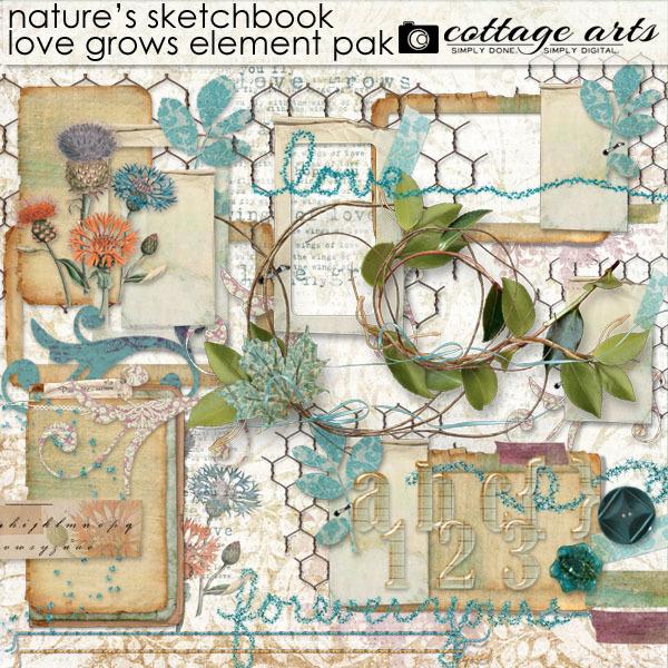 Nature's Sketchbook Love Grows Elements Digital Art - Digital Scrapbooking Kits