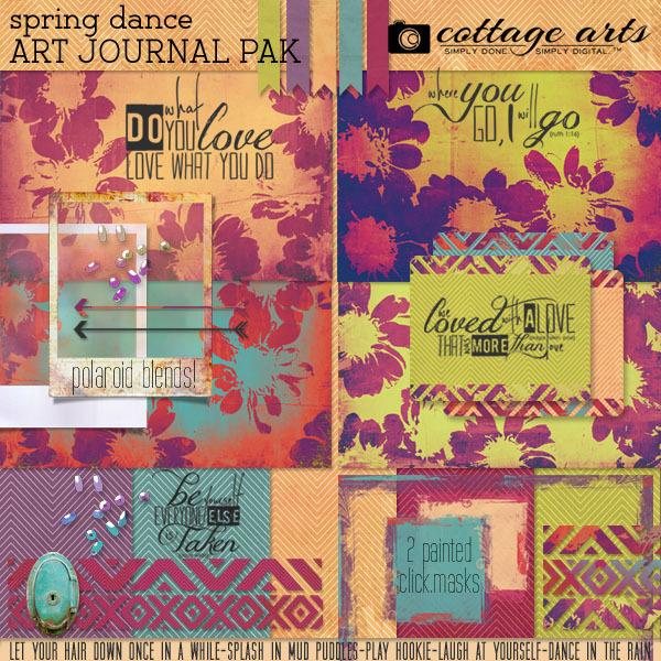 Spring Dance Art Journal Page Pak Digital Art - Digital Scrapbooking Kits