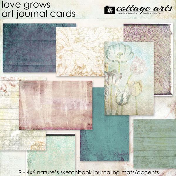 Love Grows Art Journal Cards Digital Art - Digital Scrapbooking Kits