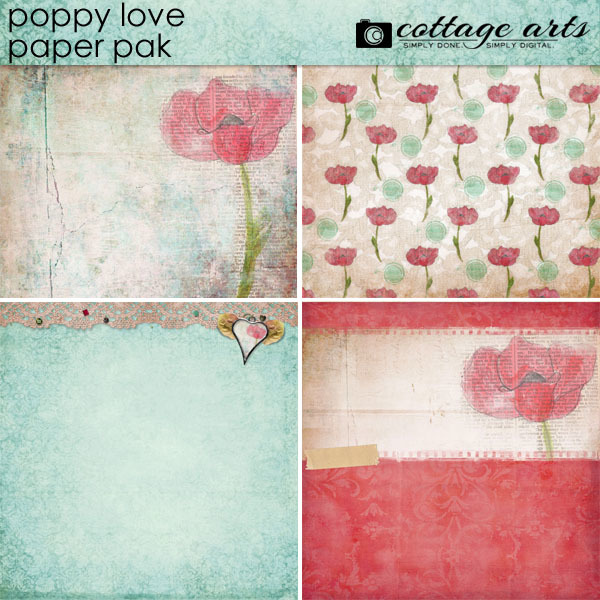 Poppy Love Paper Pak Digital Art - Digital Scrapbooking Kits