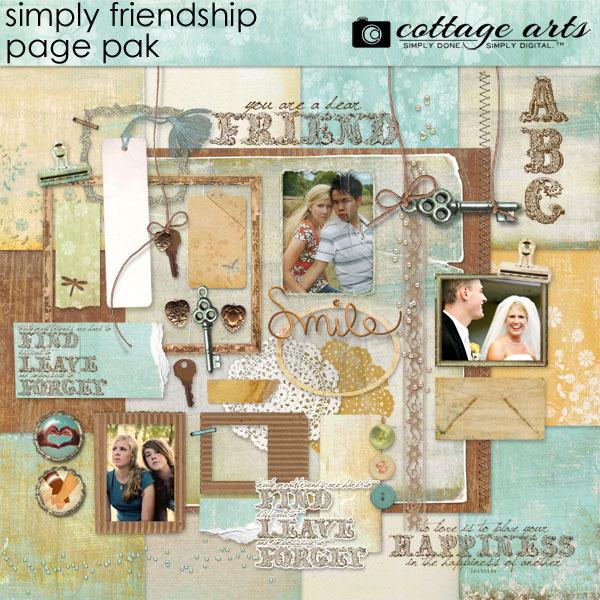 Simply Friendship Page Pak With Alpha Digital Art - Digital Scrapbooking Kits
