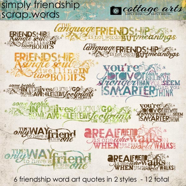 Simply Friendship Scrap.words Digital Art - Digital Scrapbooking Kits