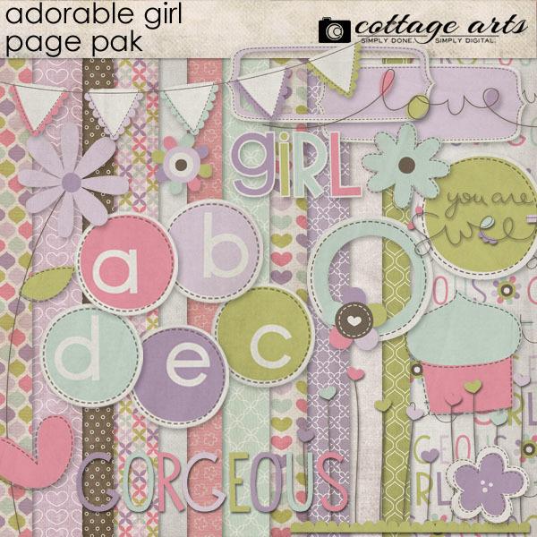 Adorable Girl Page Pak Digital Art - Digital Scrapbooking Kits